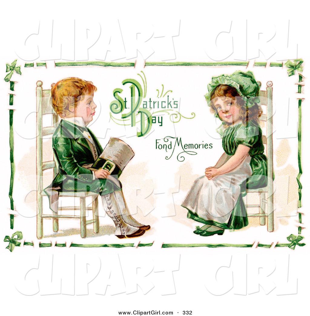 Clip Art of a Pretty Vintage Victorian St Patrick\'s Day.