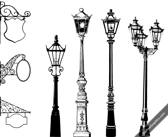 Vector Vintage Street Lights & Signs.