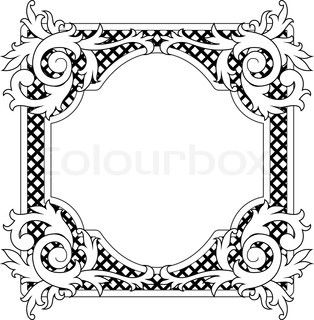 Vector of \'Vintage frame in victorian style for design as a.