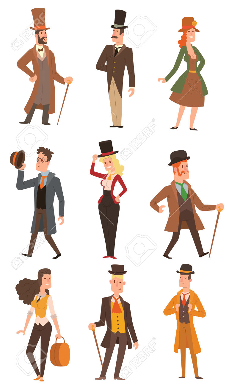 Vector Design Of Collection Of Vintage Victorian People. Style.