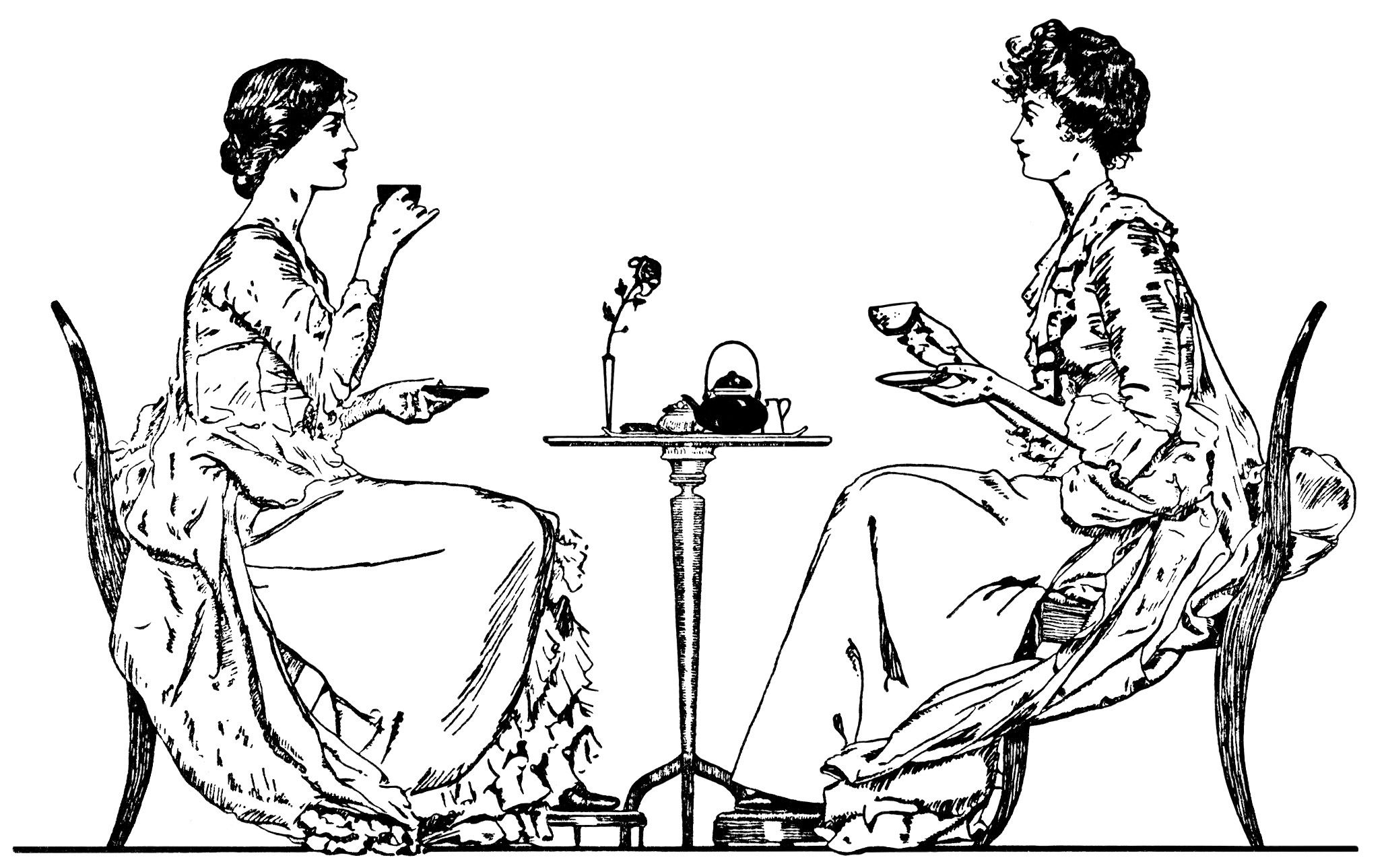 Victorian tea time, ladies drinking tea, black and white.