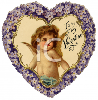 Royalty Free Clip Art Image: Heart Shaped Victorian Valentine Card.