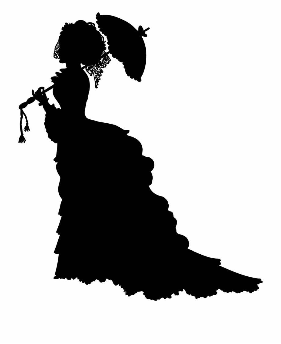 Vintage Victorian Lady Silhouette Icons Png.