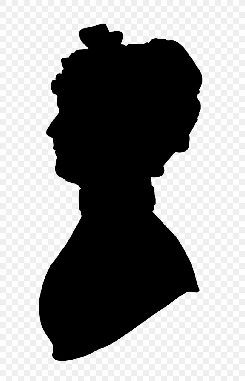 Victorian Era Woman With A Hat Silhouette Female, PNG.