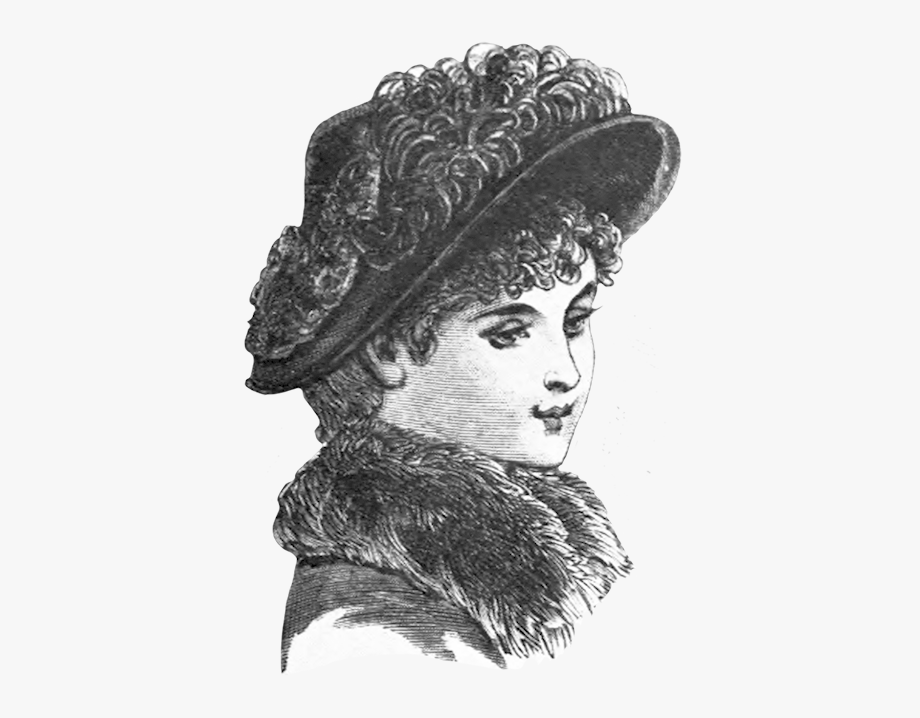 Fashion Sketch Of Victorian Woman Hat.