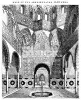 Hall of The Abencerrages, Alhambra (victorian Woodcut) stock.