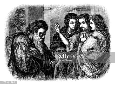 Abraham and the three angels (Victorian woodcut) Clipart.