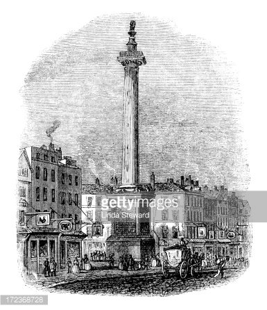 The Monument, City of London (Victorian woodcut) Clipart.