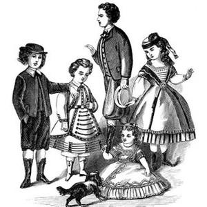 Victorian children clipart.