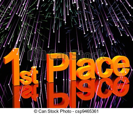 Clipart of 1st Place Word And Fireworks To Show Winning And.
