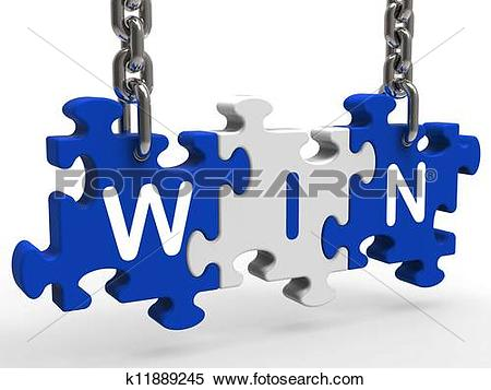Stock Illustration of Win Sign Shows Success Winning And Victories.
