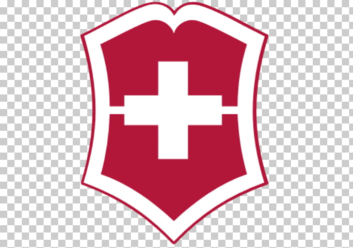 Victorinox Symbol Logo, red and white shield with cross.