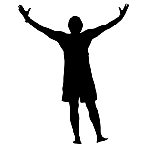 Victory Man Silhouette clipart, cliparts of Victory Man.