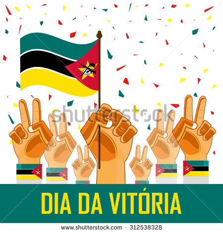 Mozambique Victory Day And Independence Day Abstract Designs Stock.