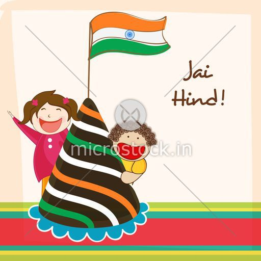 Cute little kids celebrating Indian Republic Day with National.