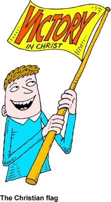 Image: Man Waving Victory in Christ Flag.