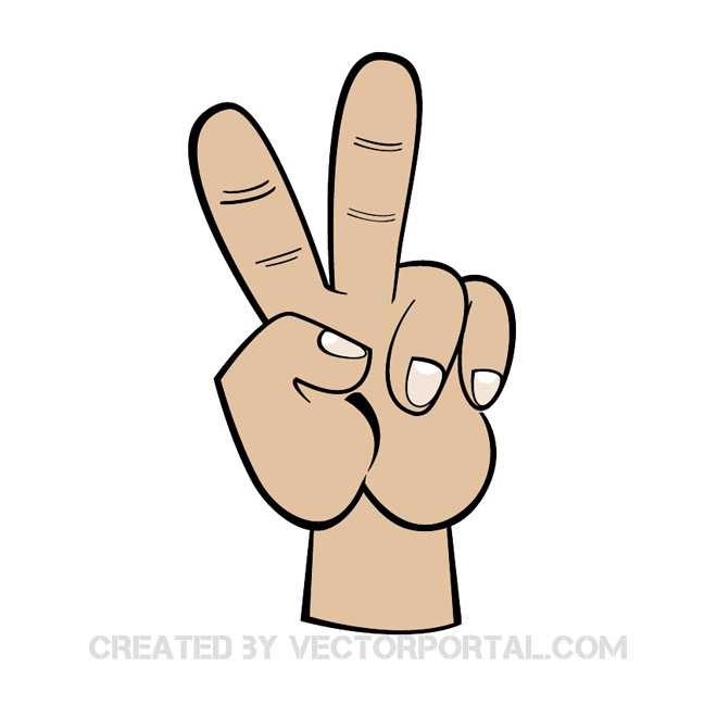 V Sign Clipart Free Vector.