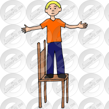 Stand on Chair Picture for Classroom / Therapy Use.