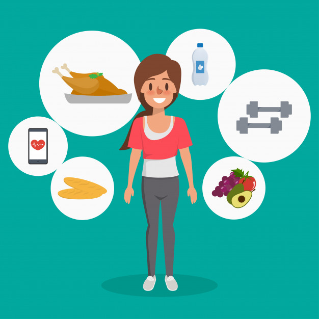 Woman healthy lifestyle infographic character. Vector.
