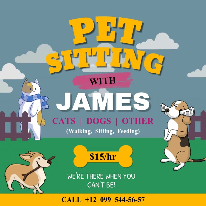 Animated Pet Sitter Services Ad Square Video Template.