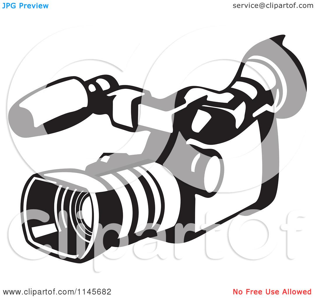 Clipart of a Retro Black and White Video Camera.