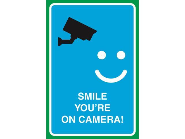 Smile You\'re On Camera Print Video Smiley Face Picture Large Notice Home  Office Work School Business Sign, 12x18.