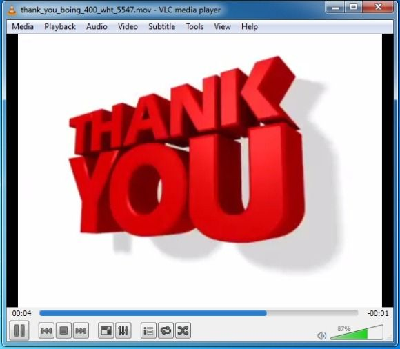 PowerPoint Video animation with Thank You clipart design for.