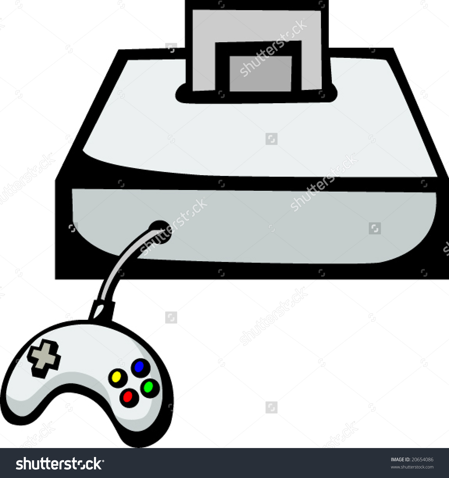 Videogame Console Gaming Cartridge Controller Stock Vector.