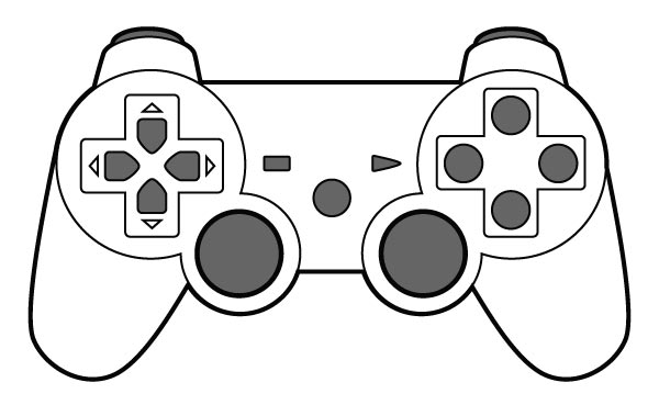 Video game controller clip art black and white.