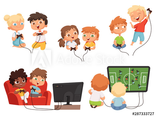 Video games kids. Console gaming children playing together.