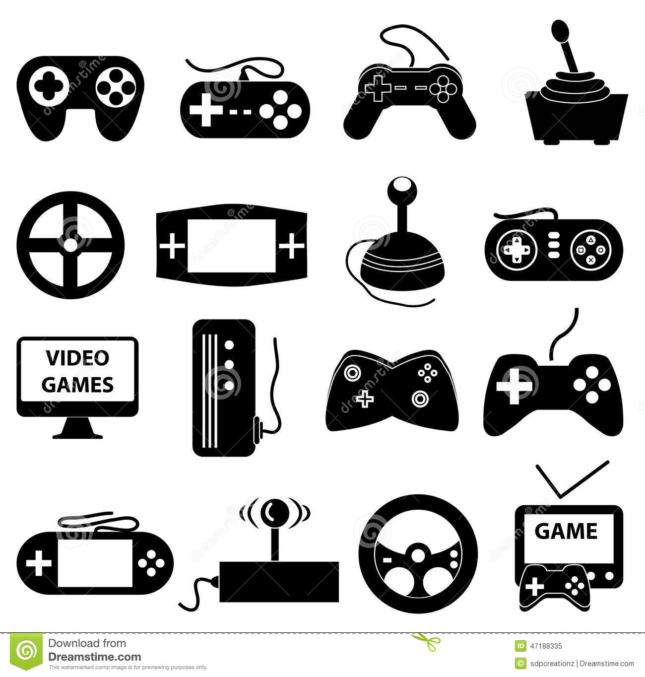 Video Games Icons Set Stock Vector.