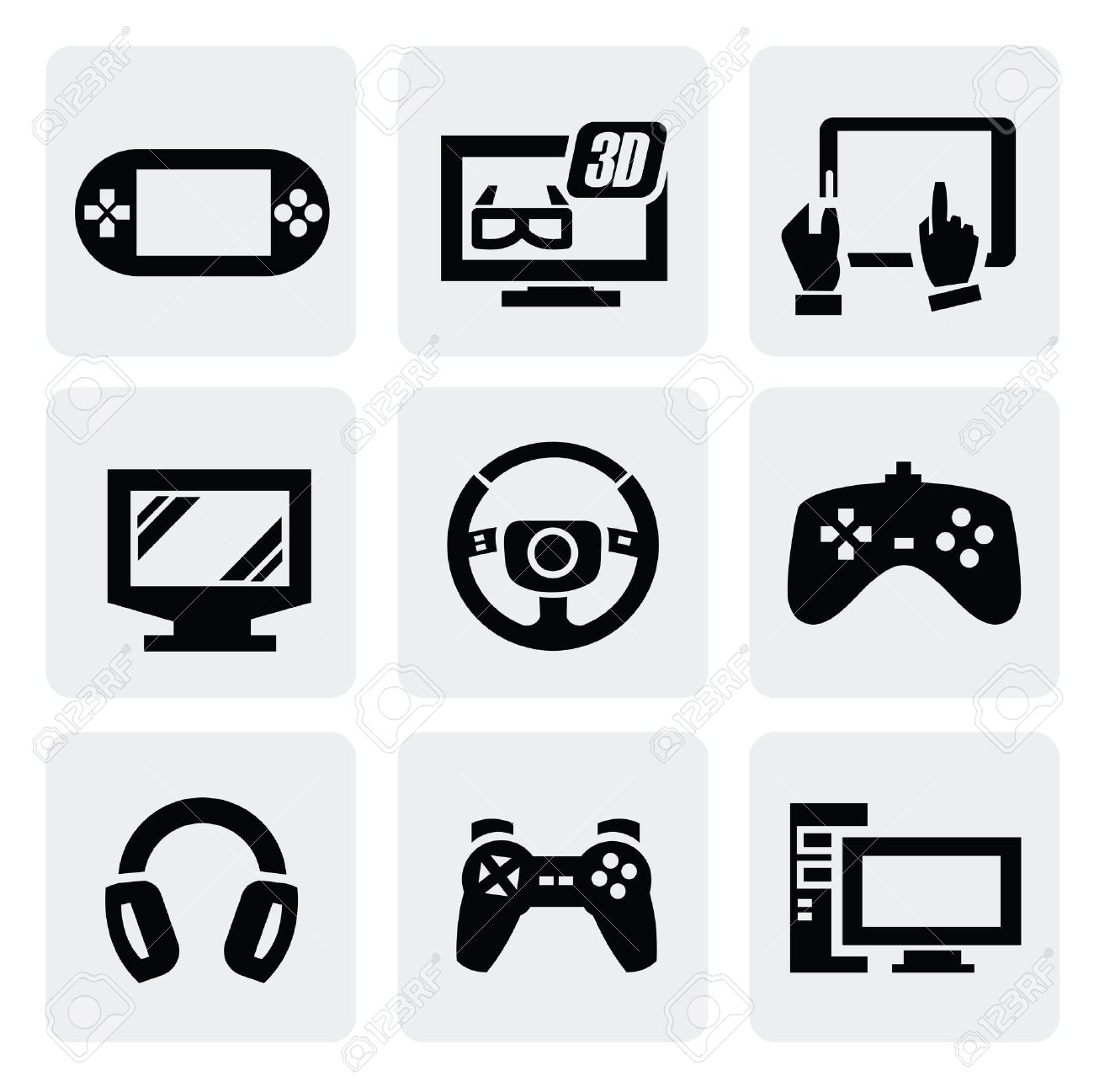 Video Game Icons Set Royalty Free Cliparts, Vectors, And Stock.