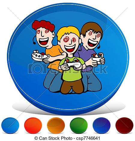 Vector Clip Art of Video Game Addicted Kids Gemstone Button Set.
