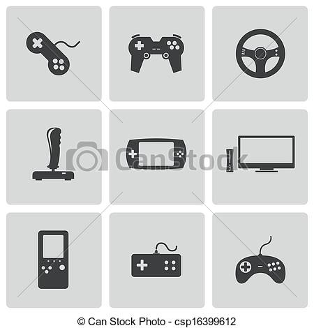 Vector Clip Art of Vector black video game icons set csp16399612.