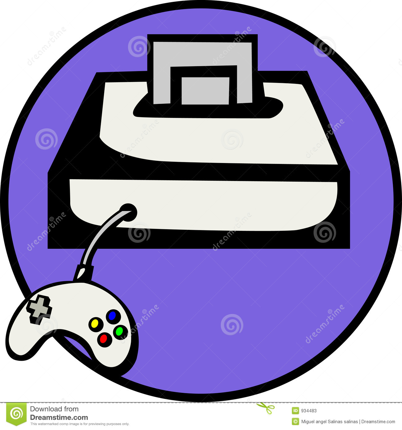Videogame Console With Game. Vector File Available Stock Photos.