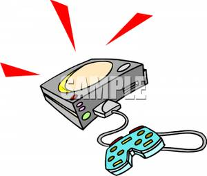 Controller Connected To a Video Game Console Clipart Picture.