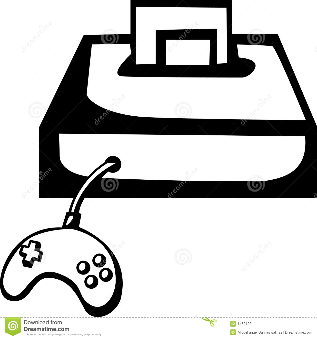 Videogame Console With Game And Controller. Vector Royalty Free.