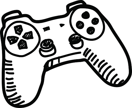 Game controller clip art black and white.