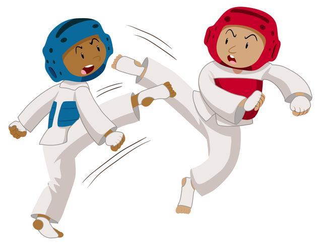 Two players doing taekwondo.