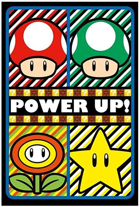 Pyramid America Super Mario Power Up Video Game Gaming UV Black Light  Blacklight Poster 24x36 Inch.