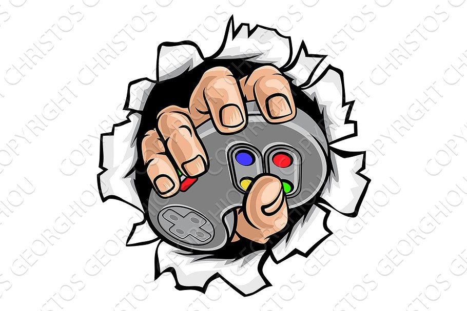Gamer Hand and Video Game Controller.