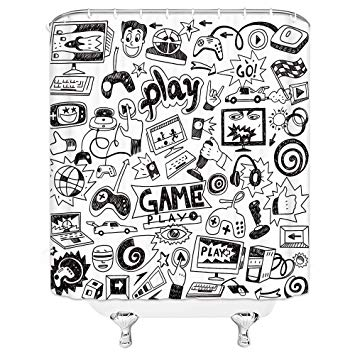 Amazon.com: Video Games Shower Curtain Set, Black and White.