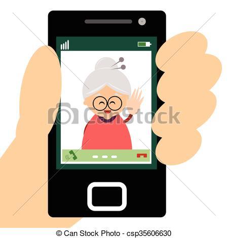 Vectors of Grandmother making a video call.