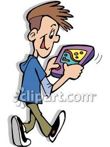 Playing on a phone clipart.