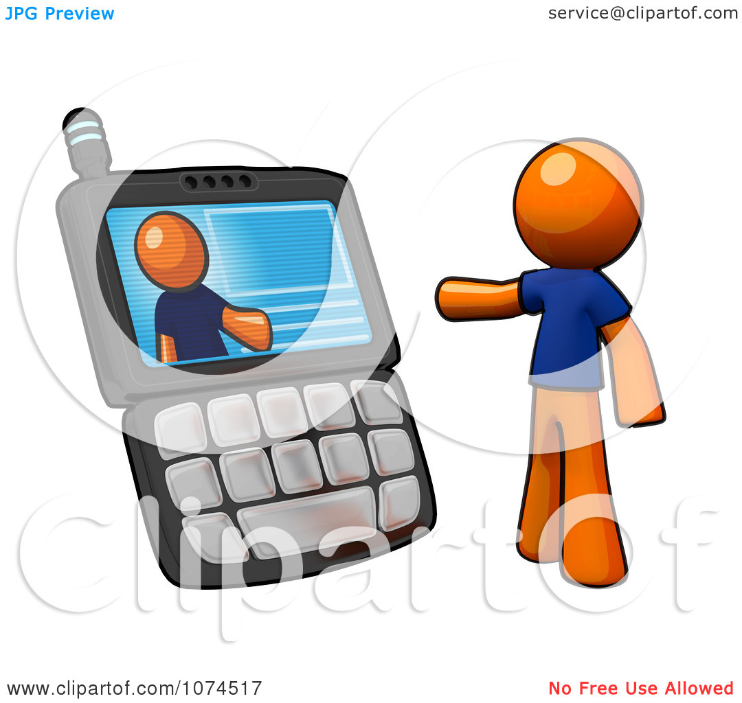 Clipart 3d Orange Man Video Chatting On A Cell Phone.