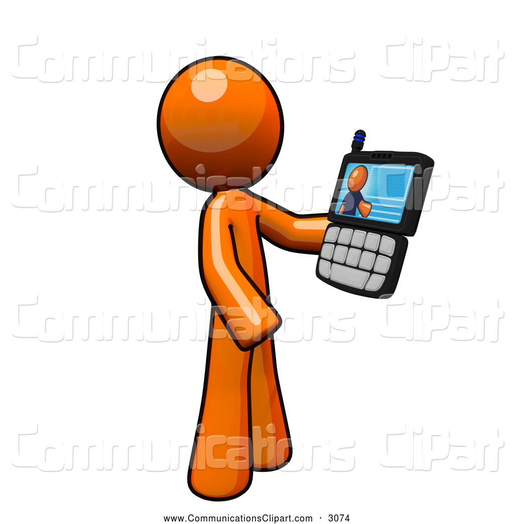 Communication Clipart of an Orange Man Having a Video Conference.
