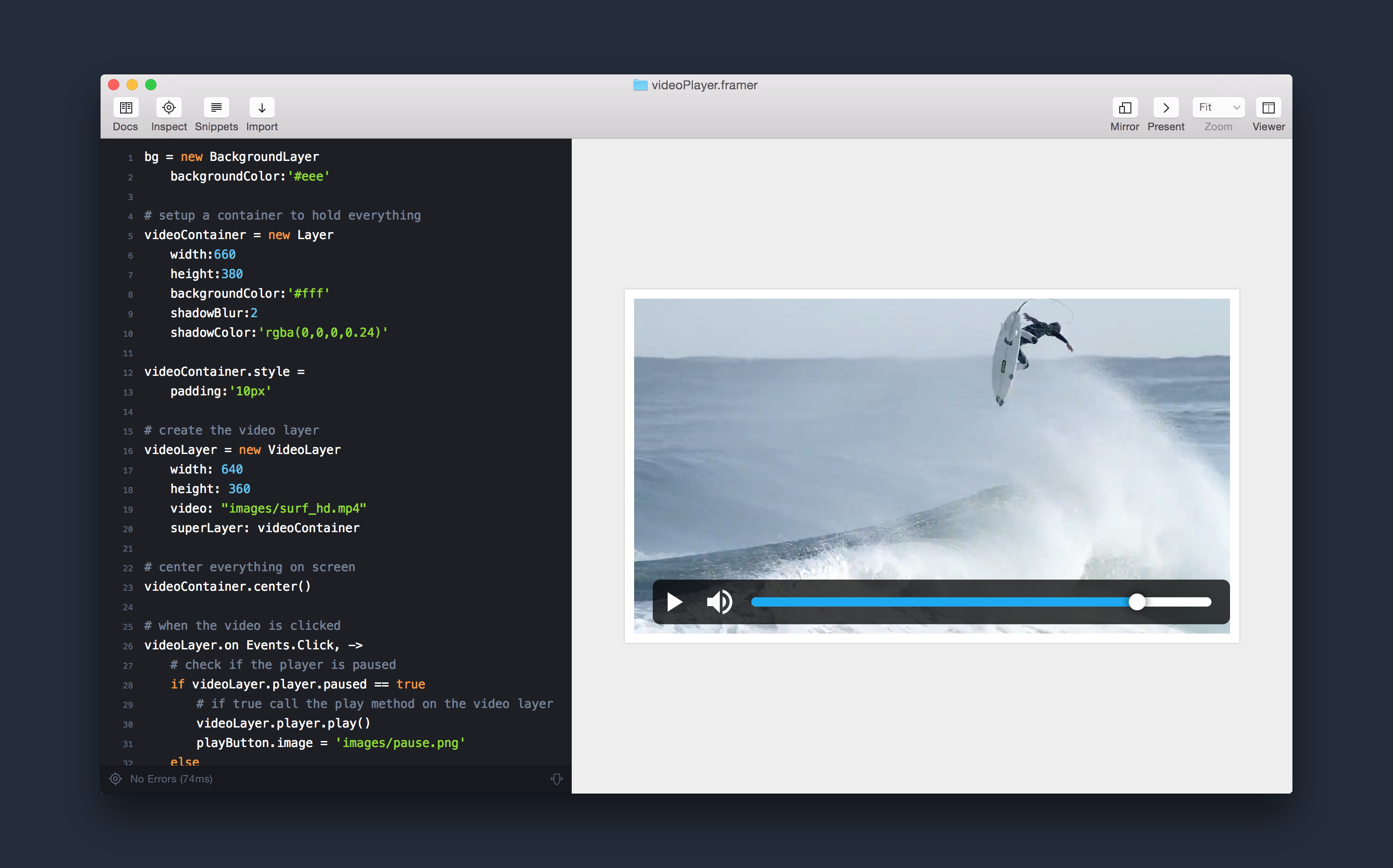 Prototype a Video Player in Framer.