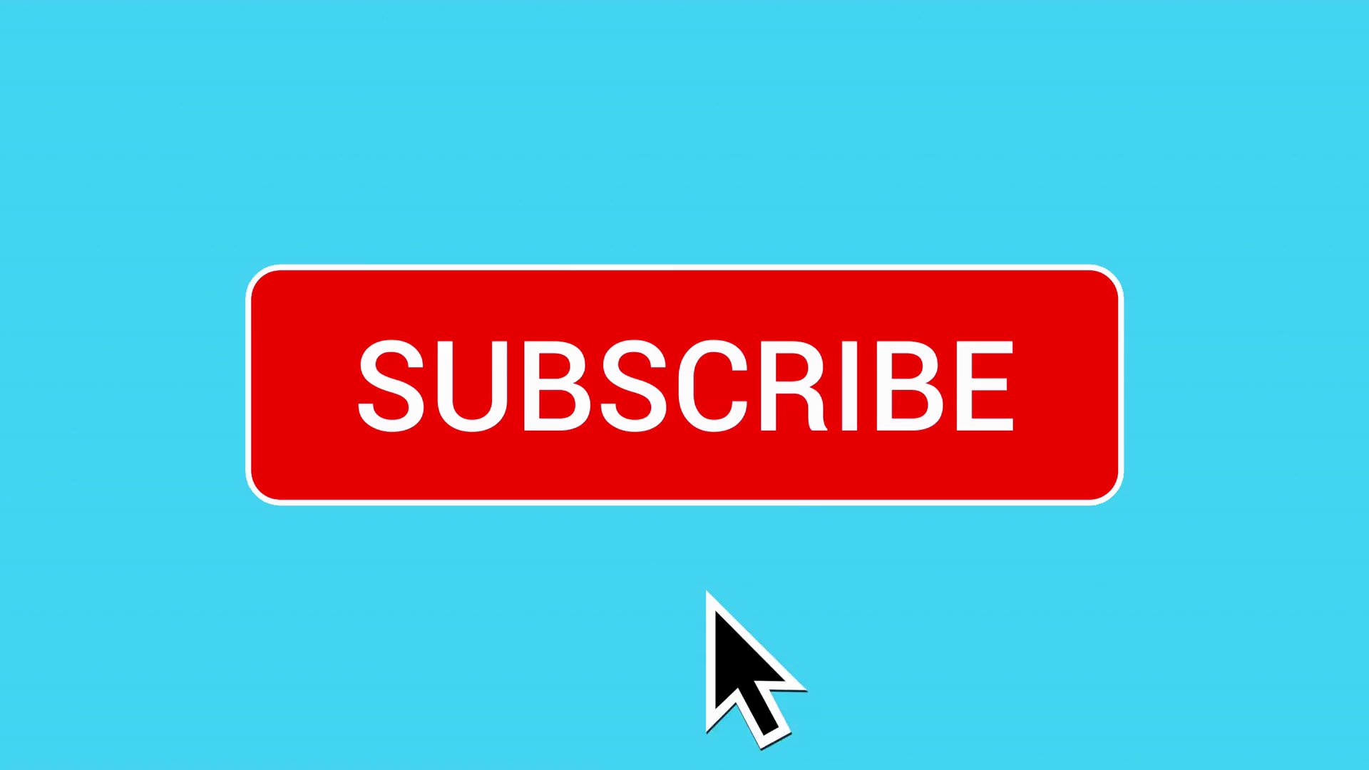Mouse Clicking Subscribe Button and Bell Notification with White Border and  Pastel Blue Background. Stock Video Footage.