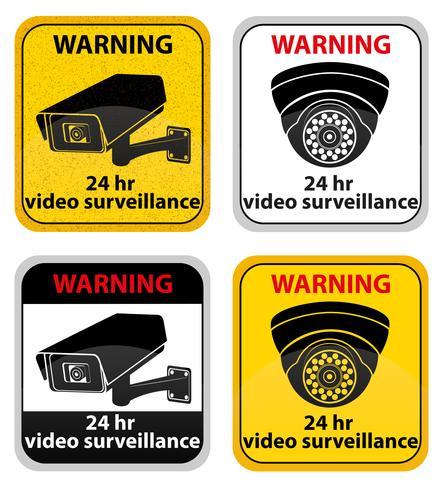 video surveillance warning sign vector illustration.