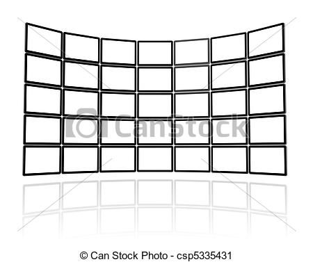 Clipart of Video wall made of flat tv screens.